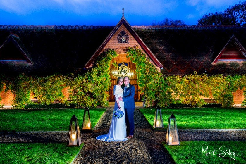 Bride and groom at twilight - wedding at The Dairy Waddesdon - Mark Sisley Photography