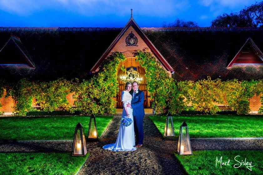 Bride and groom at twilight - wedding at The Dairy Waddesdon - Mark Sisley Photography