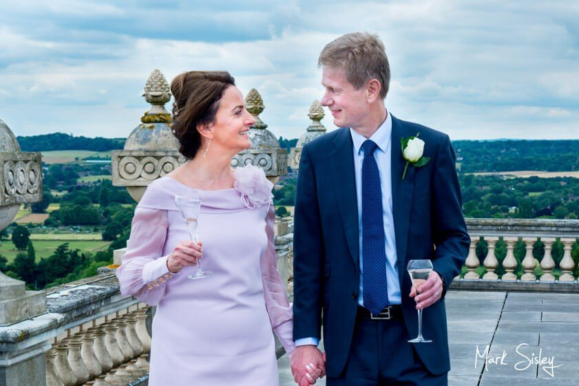 Bride and groom on the terrace at Cliveden House - wedding at Cliveden House Bucks - Mark Sisley Photography