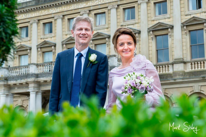 Bride and groom at Cliveden House - wedding at Cliveden House Bucks - Mark Sisley Photography