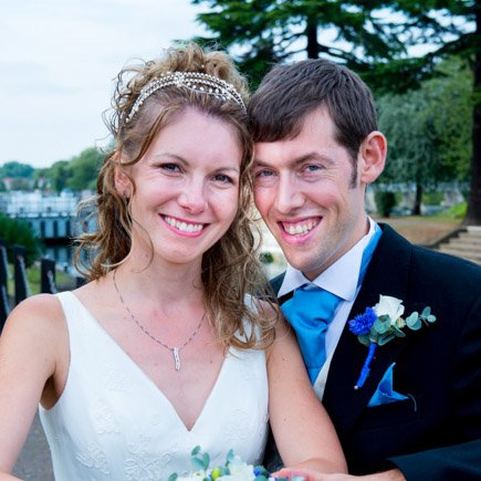 Bride and groom at Runneymede Hotel Berkshire