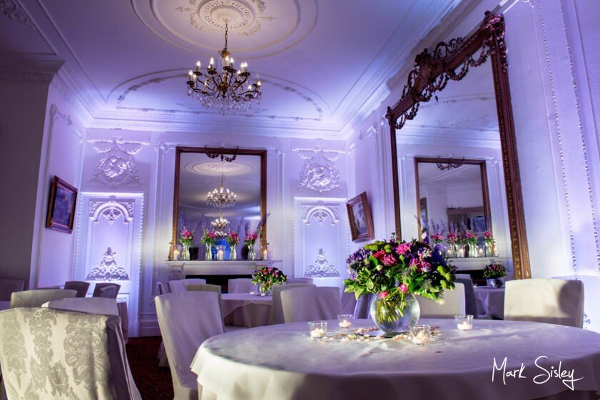 Taplow House Hotel with violet mood lighting - Mark Sisley Photography