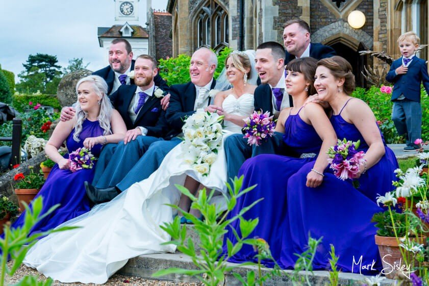 wedding party with royal blue bridesmaid dresses - Mark Sisley Photography