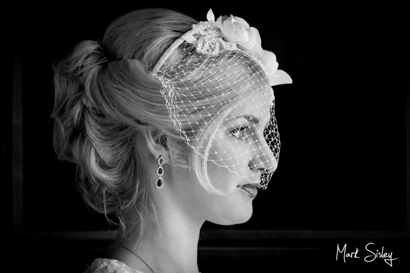 black and white profile photo of bride at Brocket Hall Hertfordshire