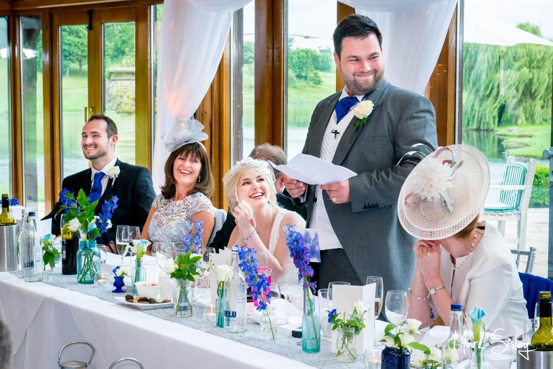 Brocket Hall wedding photography speeches in the Oak Room