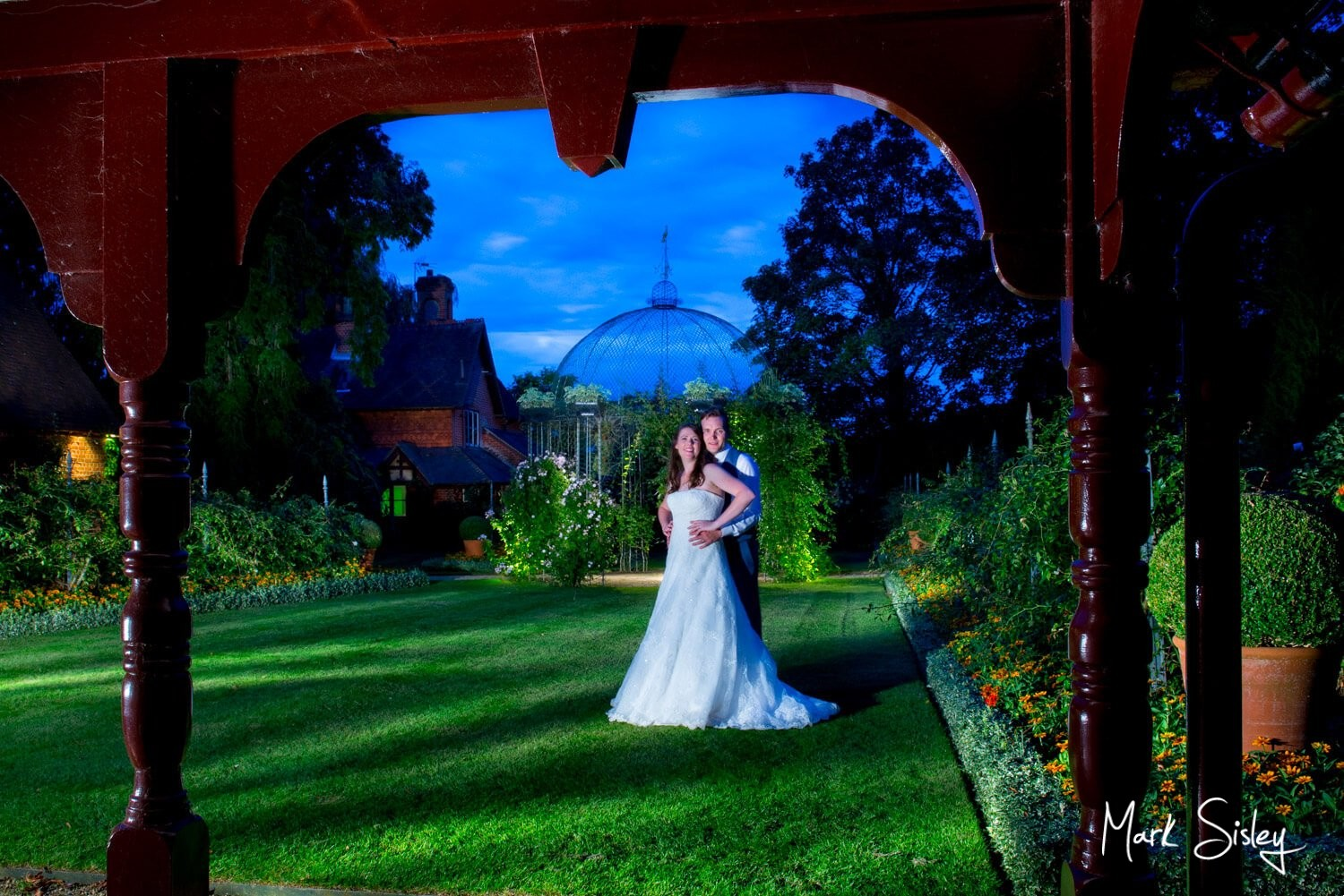 Magical Dairy Waddesdon wedding at dusk with the newlyweds