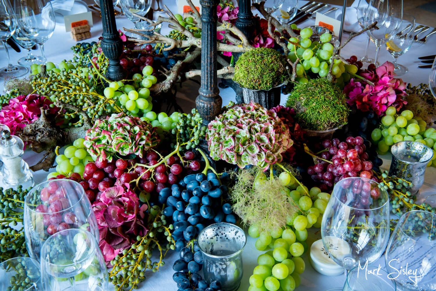 Summer Dairy Waddesdon wine themed wedding table centre