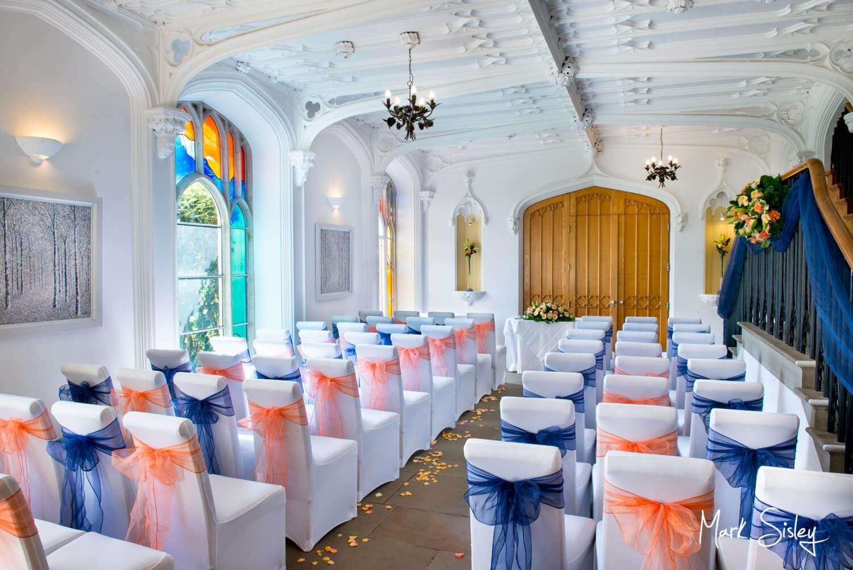 Missenden Abbey civil wedding ceremony celebration setup