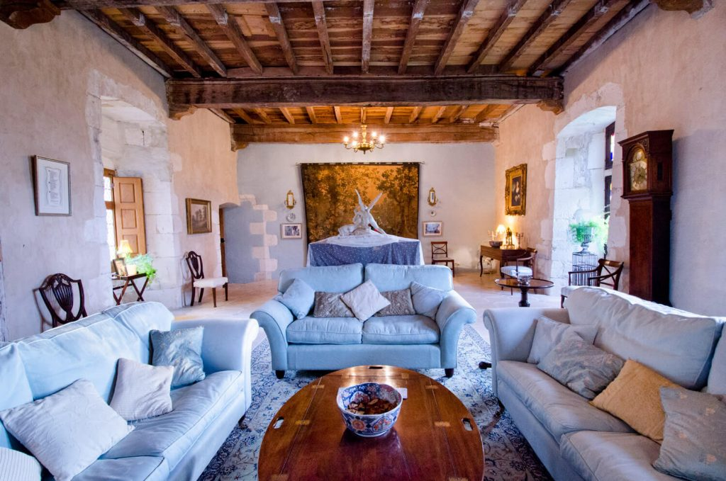Architectural photography in the UK and France - Chateau Bramatourte interiors of the incredible lounge area