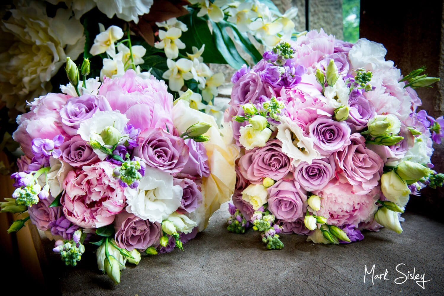 Photography of bride's Clearwell Castle wedding bouquets