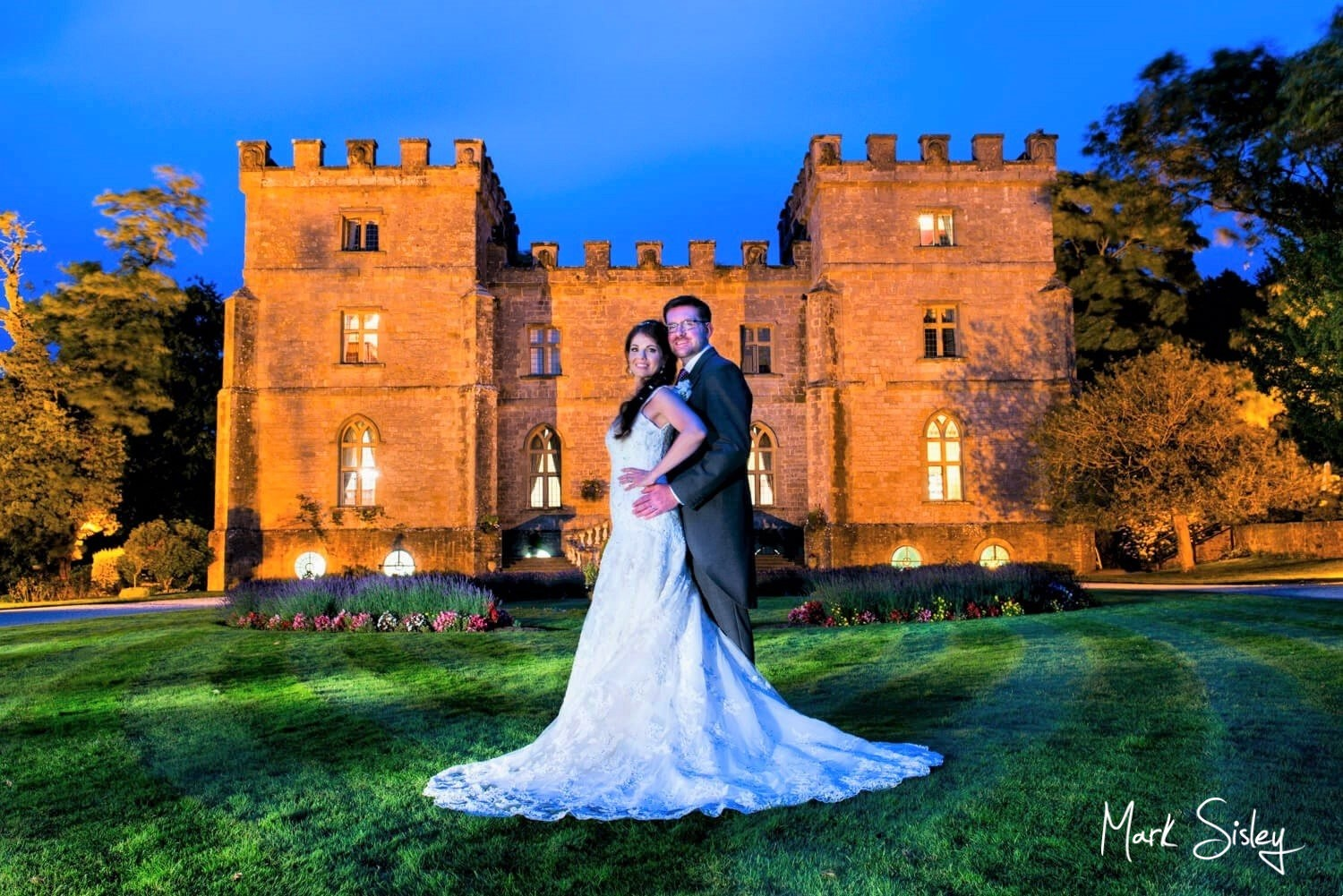 Clearwell Castle wedding photography at dusk