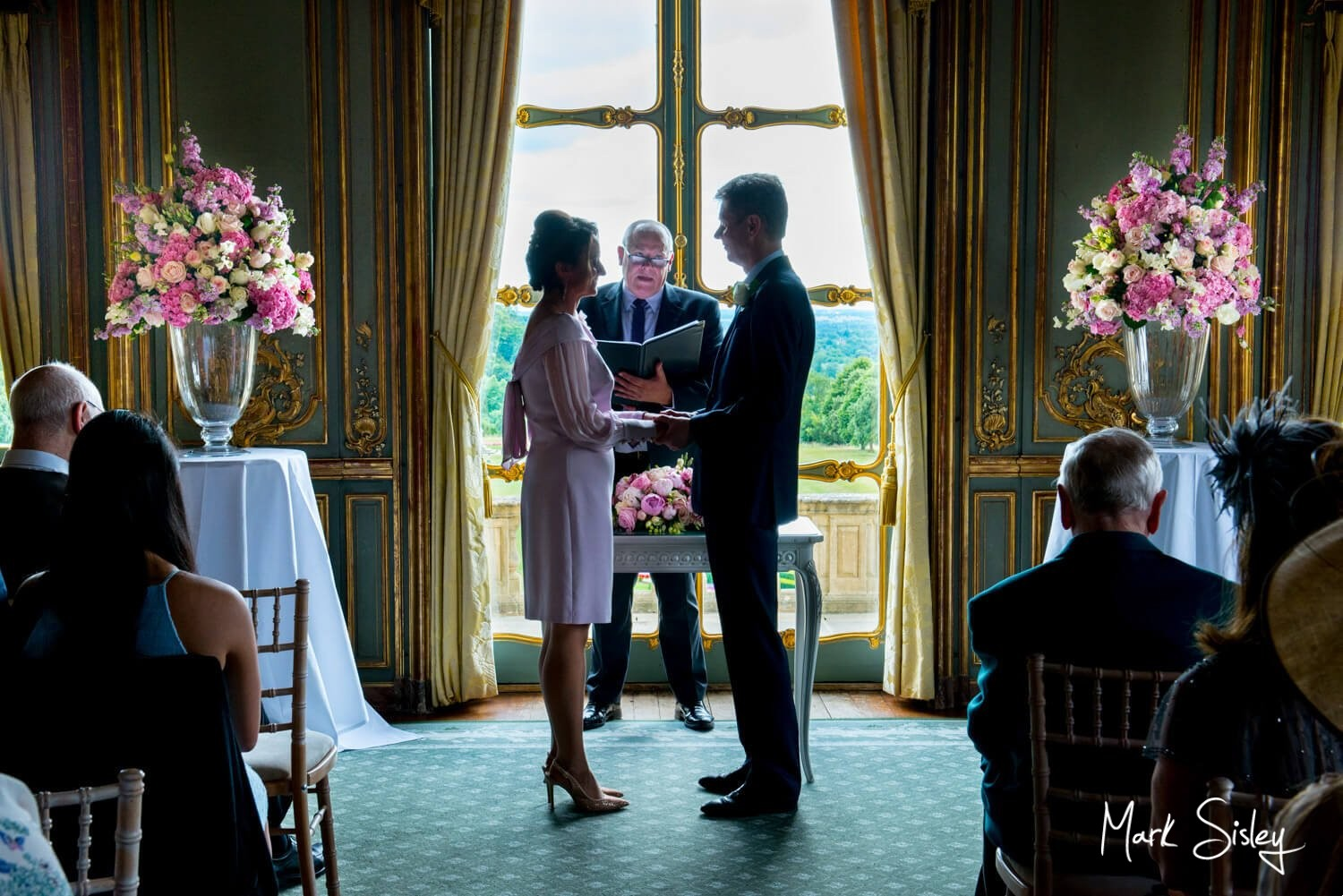 Cliveden House wedding photography of ceremony in progress in The French Dinning Room - blog post