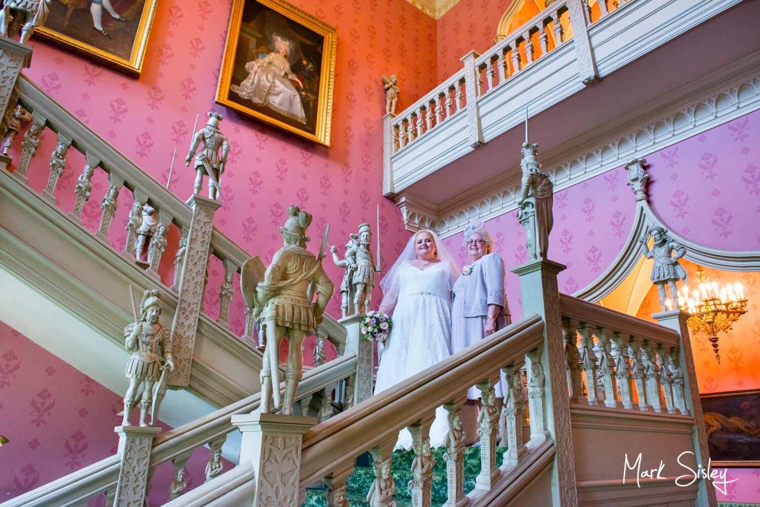 Hartwell House autumn wedding photography on the staircase pre ceremony