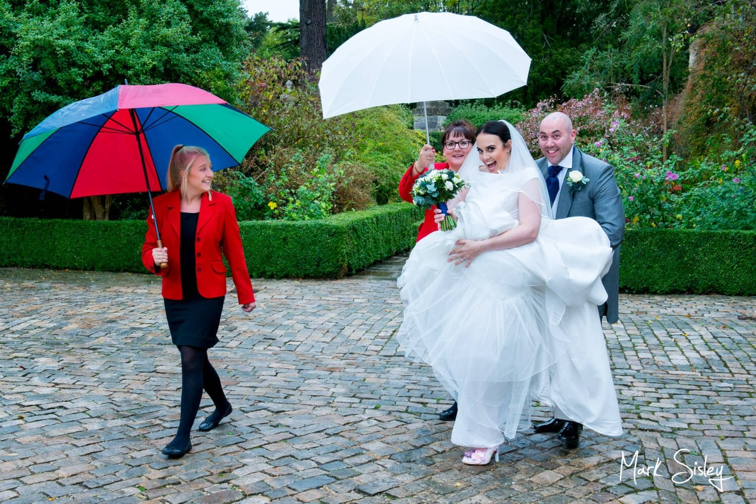 Hartwell House wedding photography in the rain