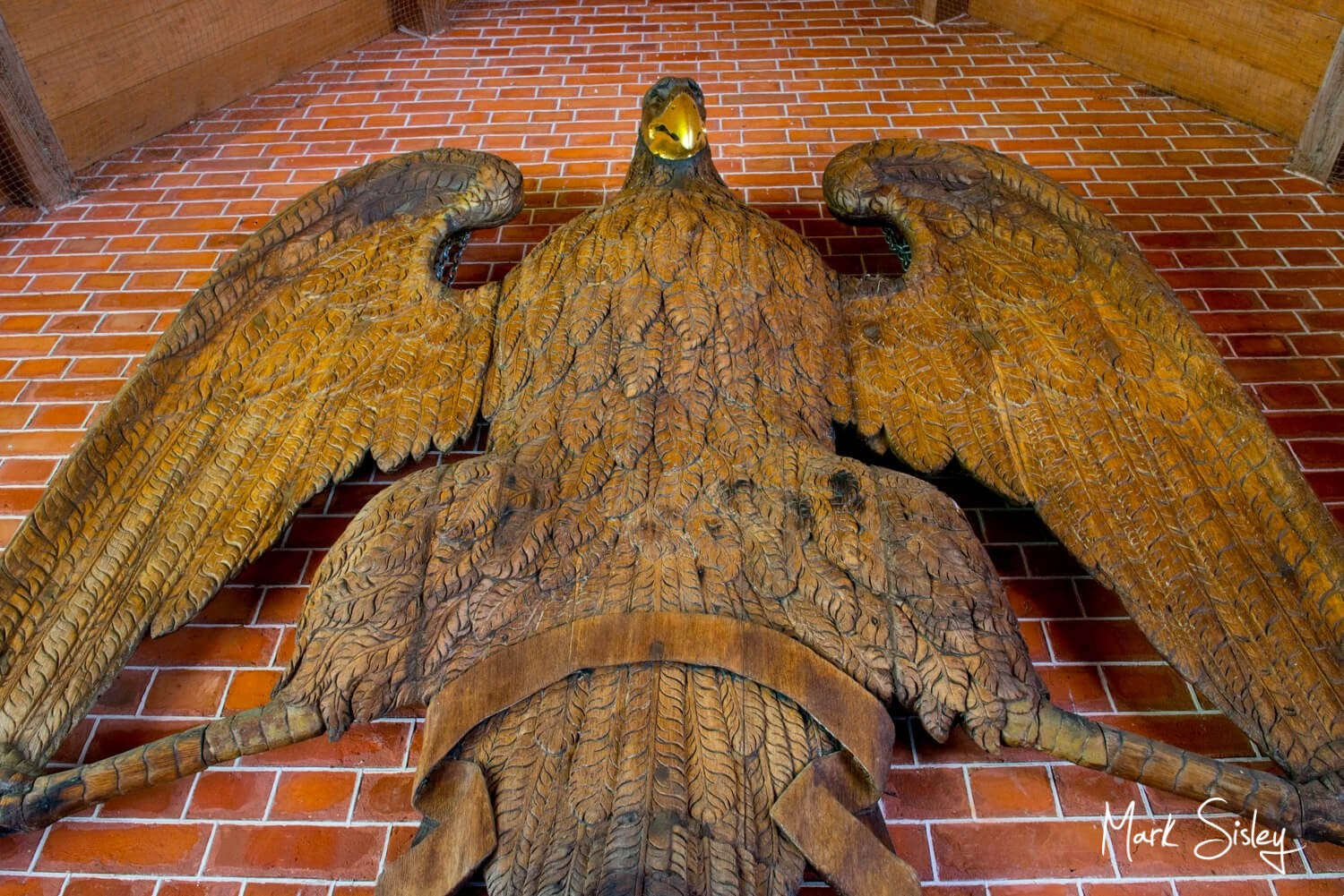 Dairy Waddesdon wedding day image of the carved Eagle in the entrance