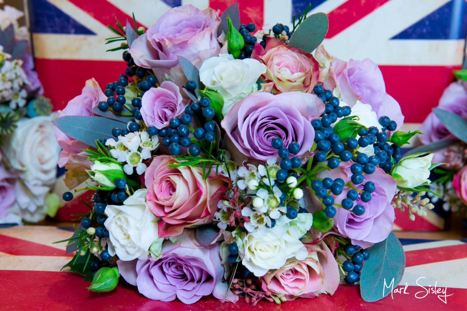 Choosing a wedding photographer - union flag and bridal bouquet