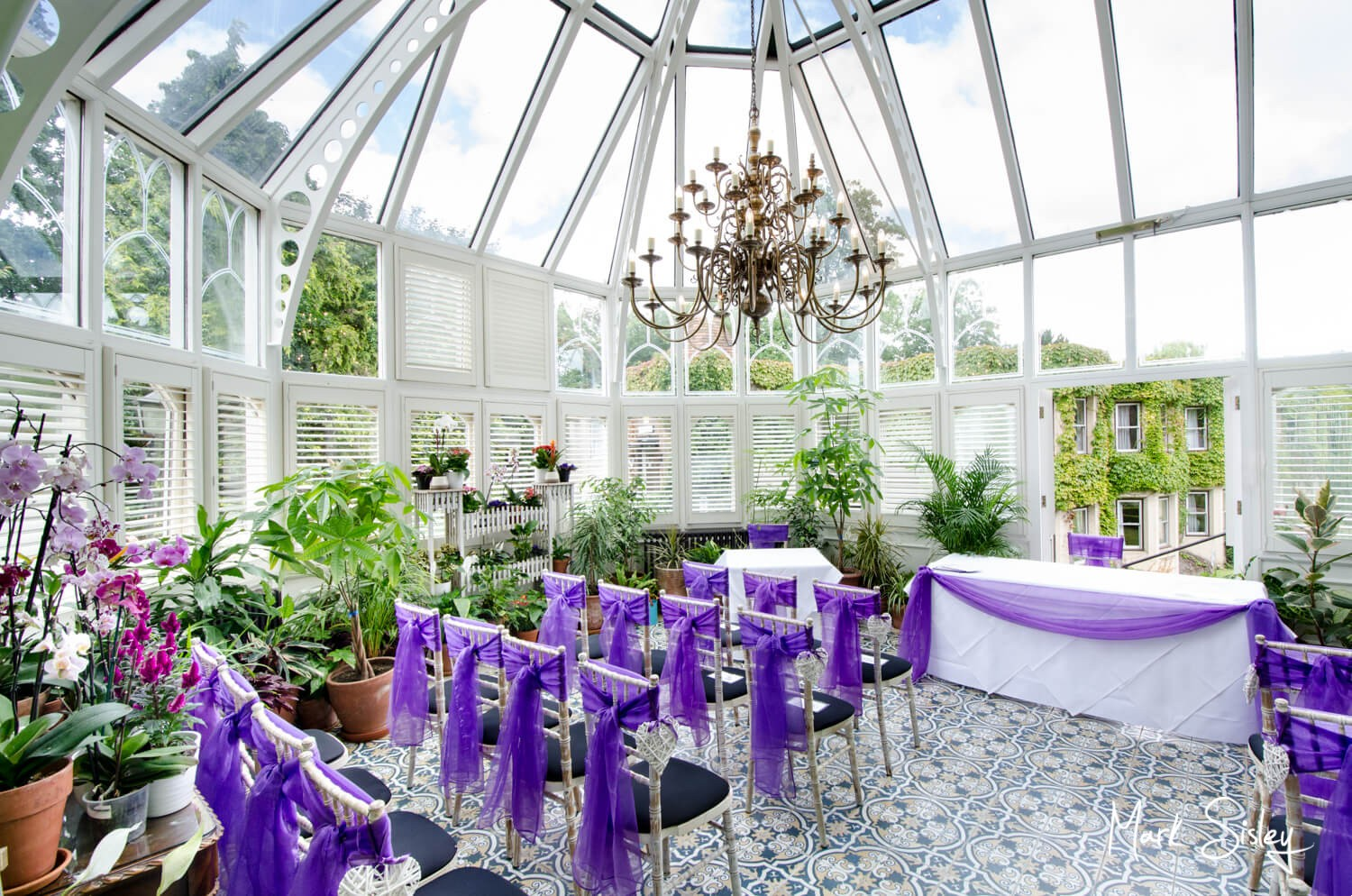 Oakley Court wedding photography inside the Victorian Glasshouse