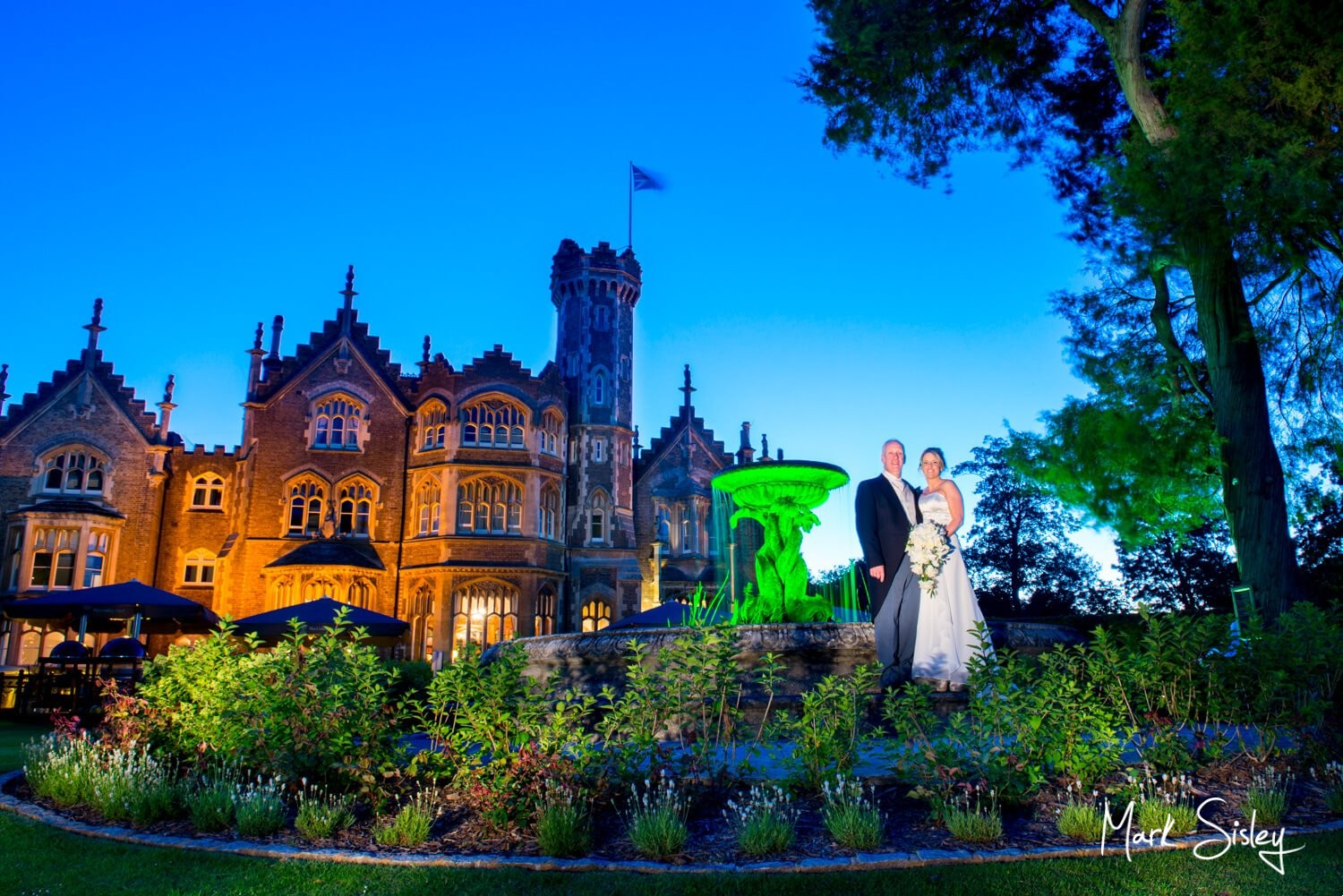 Oakley Court wedding photography at dusk