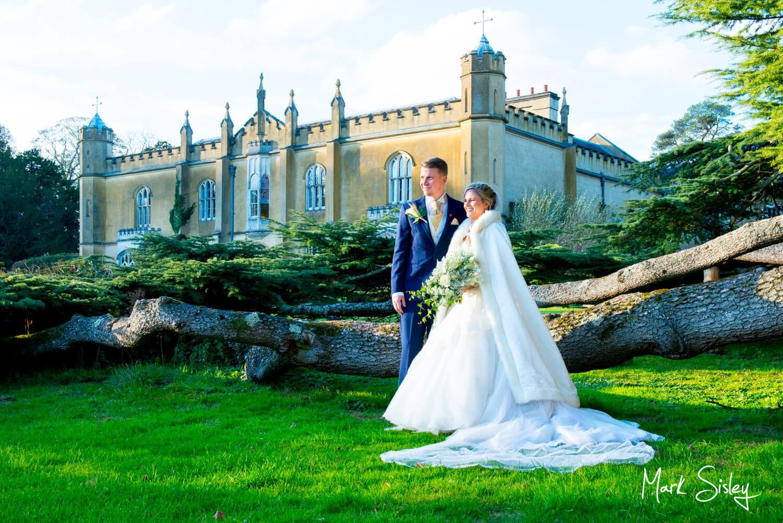Missenden Abbey autumn wedding newlyweds under the cedar tree