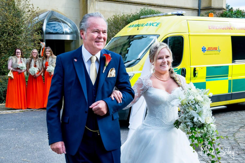 Bride & her father at her Missenden Abbey autumn wedding