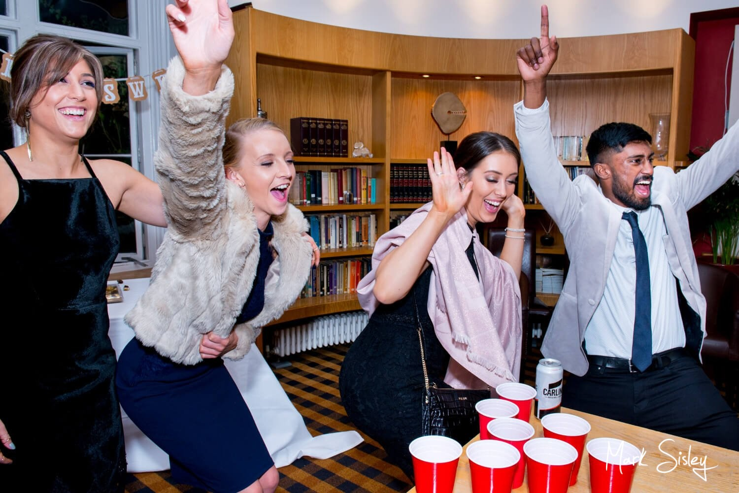 Missenden Abbey autumn wedding fun and games in the library