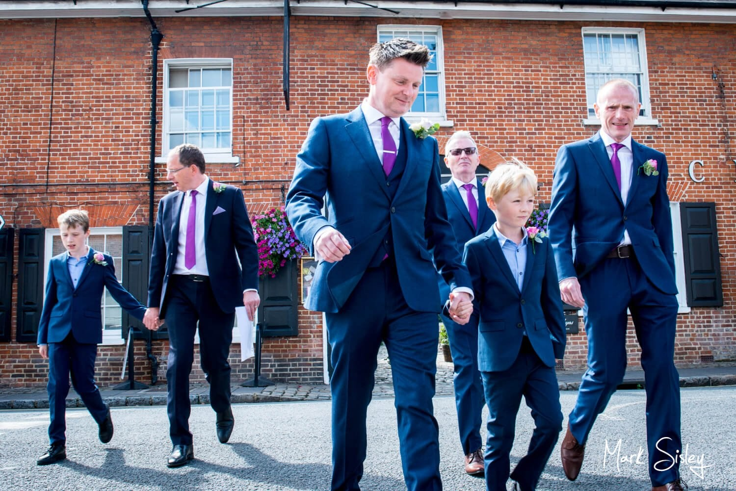 Old Amersham Wedding Photography of the guys arriving at the church