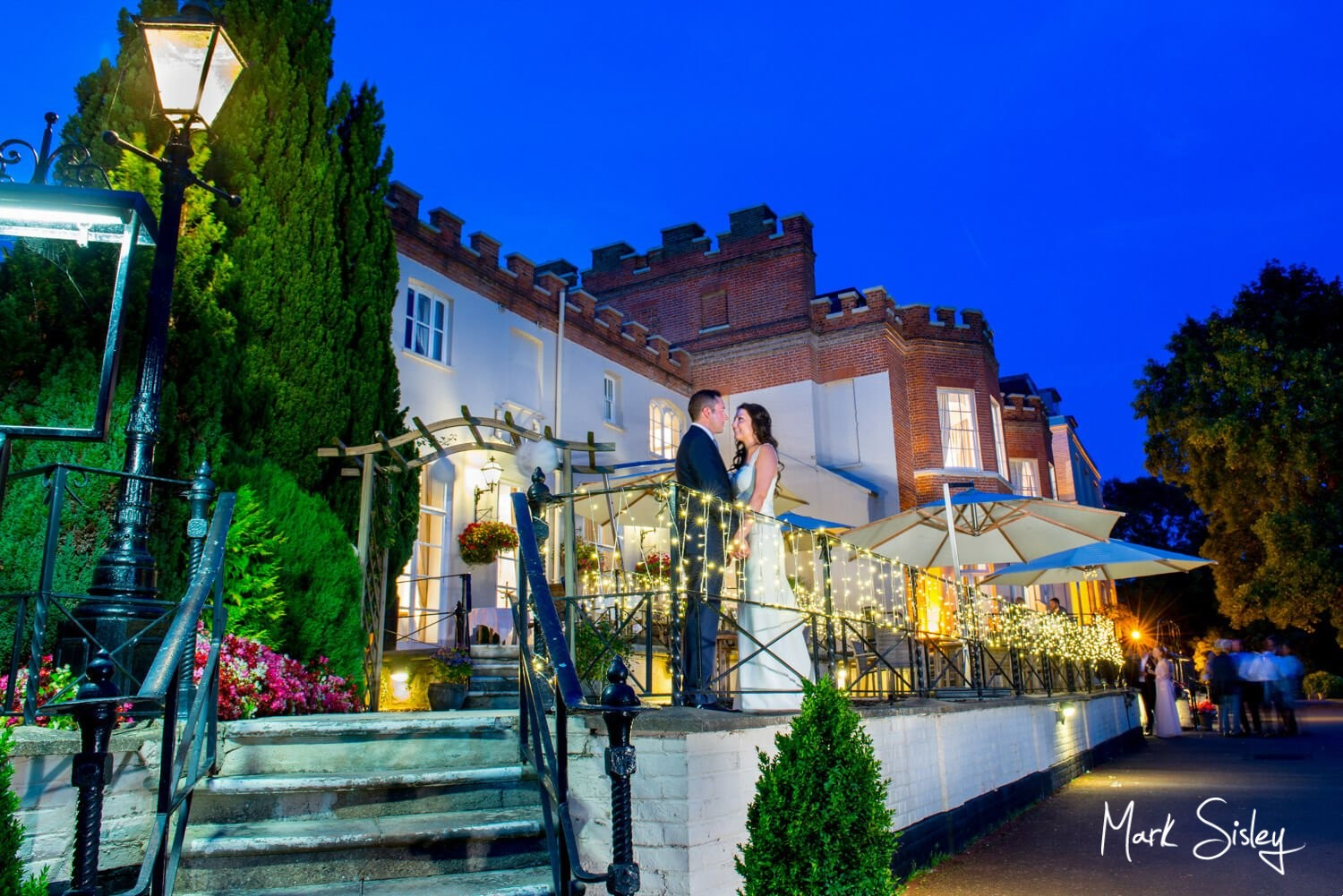 Taplow House Hotel summer wedding photography at dusk