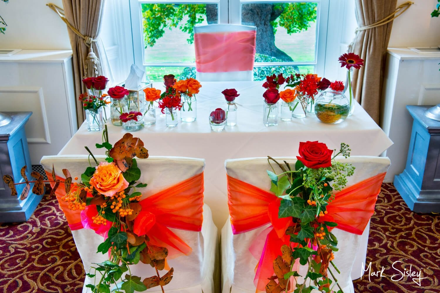 Taplow House autumn wedding - floral decorations