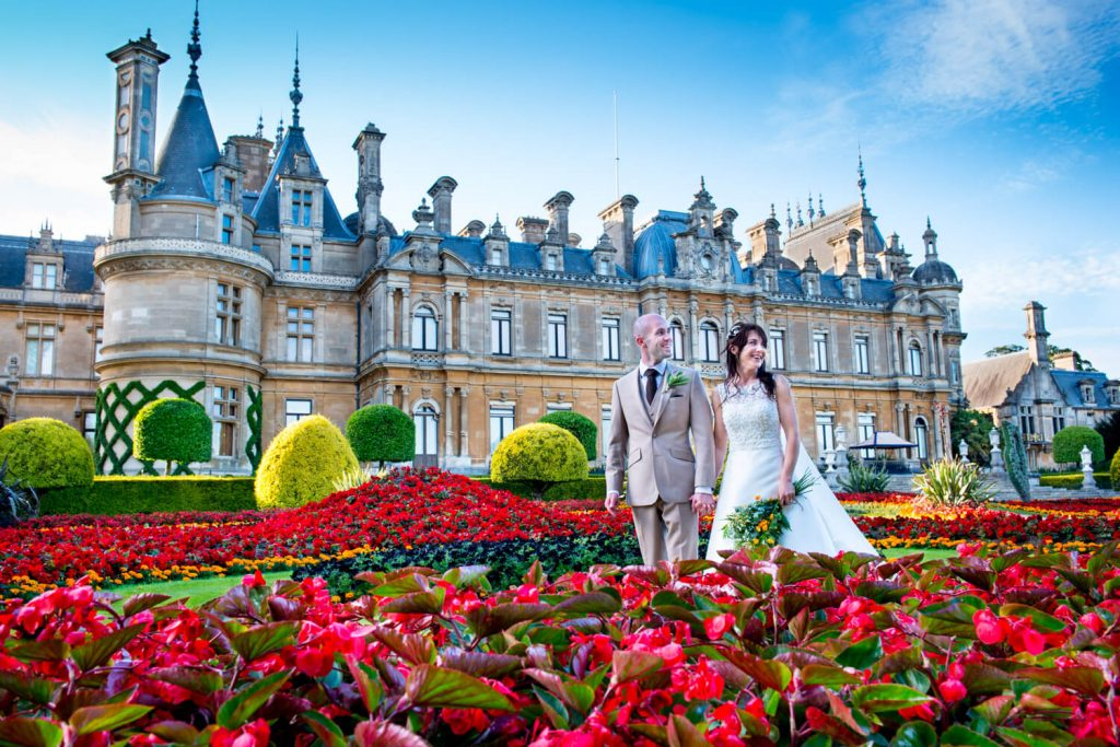Dairy Waddesdon wedding photographs at the manor through the flower borders