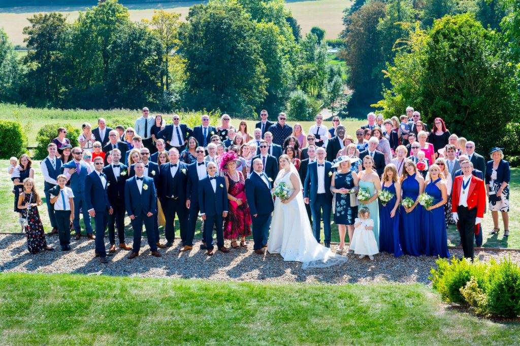 Latimer Estate wedding photos from above of all the guests