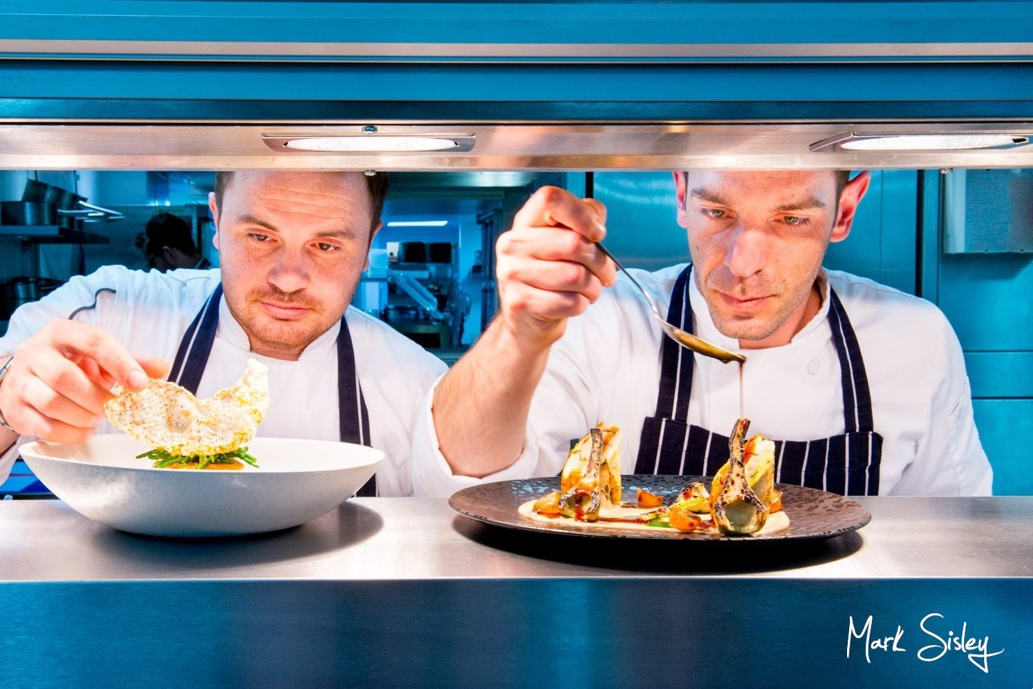Chefs at work for fine dining food photography - Buckinghamshire