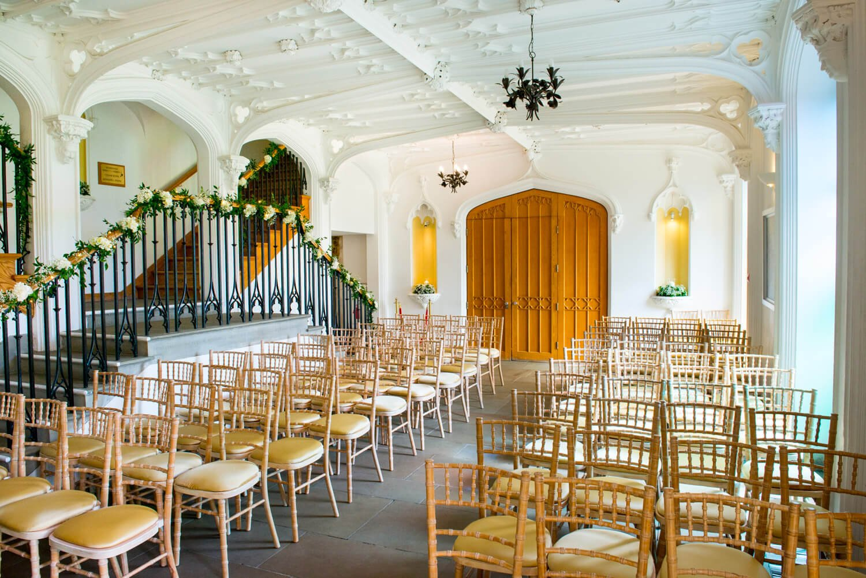 Missenden Abbey civil wedding ceremony setup in the Garden Room