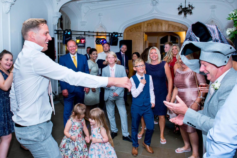 Missenden Abbey wedding antics on the dancefloor