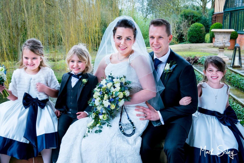 Dairy Waddesdon Spring wedding group pose in the pavilion