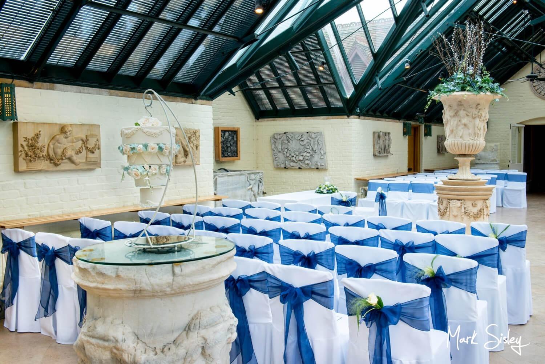 The Dairy Waddesdon Spring civil wedding ceremony setup in the Wintergarden