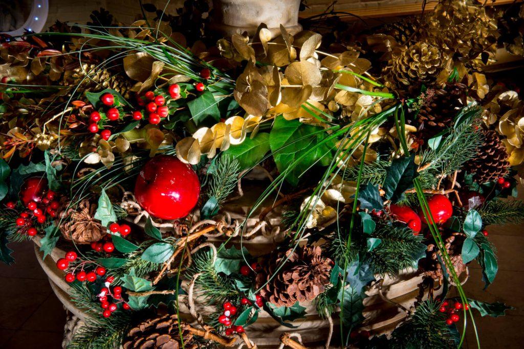 Dairy Waddesdon Christmas wedding floral arrangements