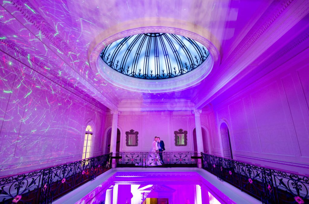 Hedsor House wedding photographs inside the dramatically lit grand building