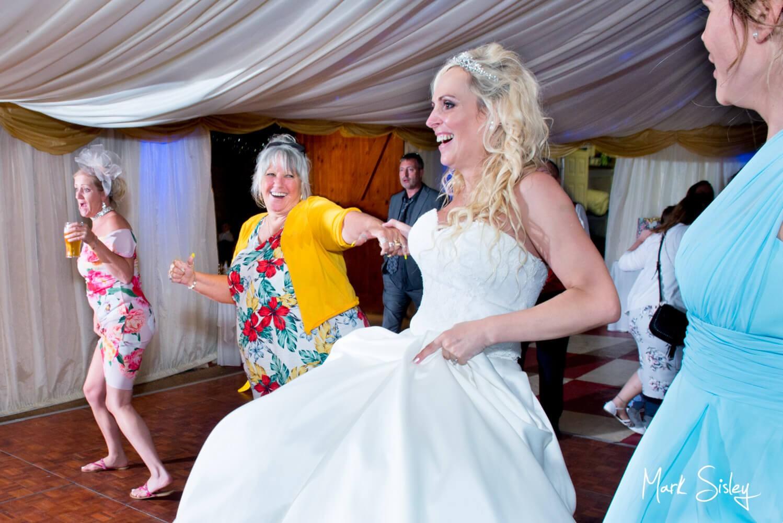 Notley Tythe Barn wedding dancing in progress