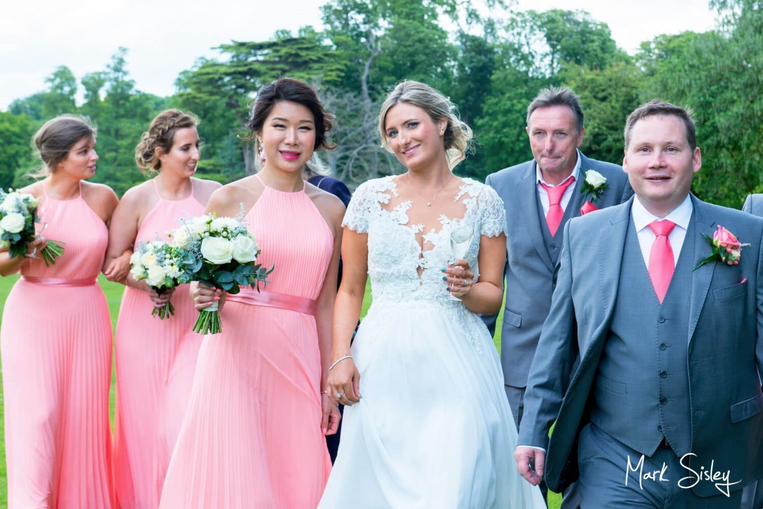 Hartwell House wedding pictures - the bridal party take a stroll