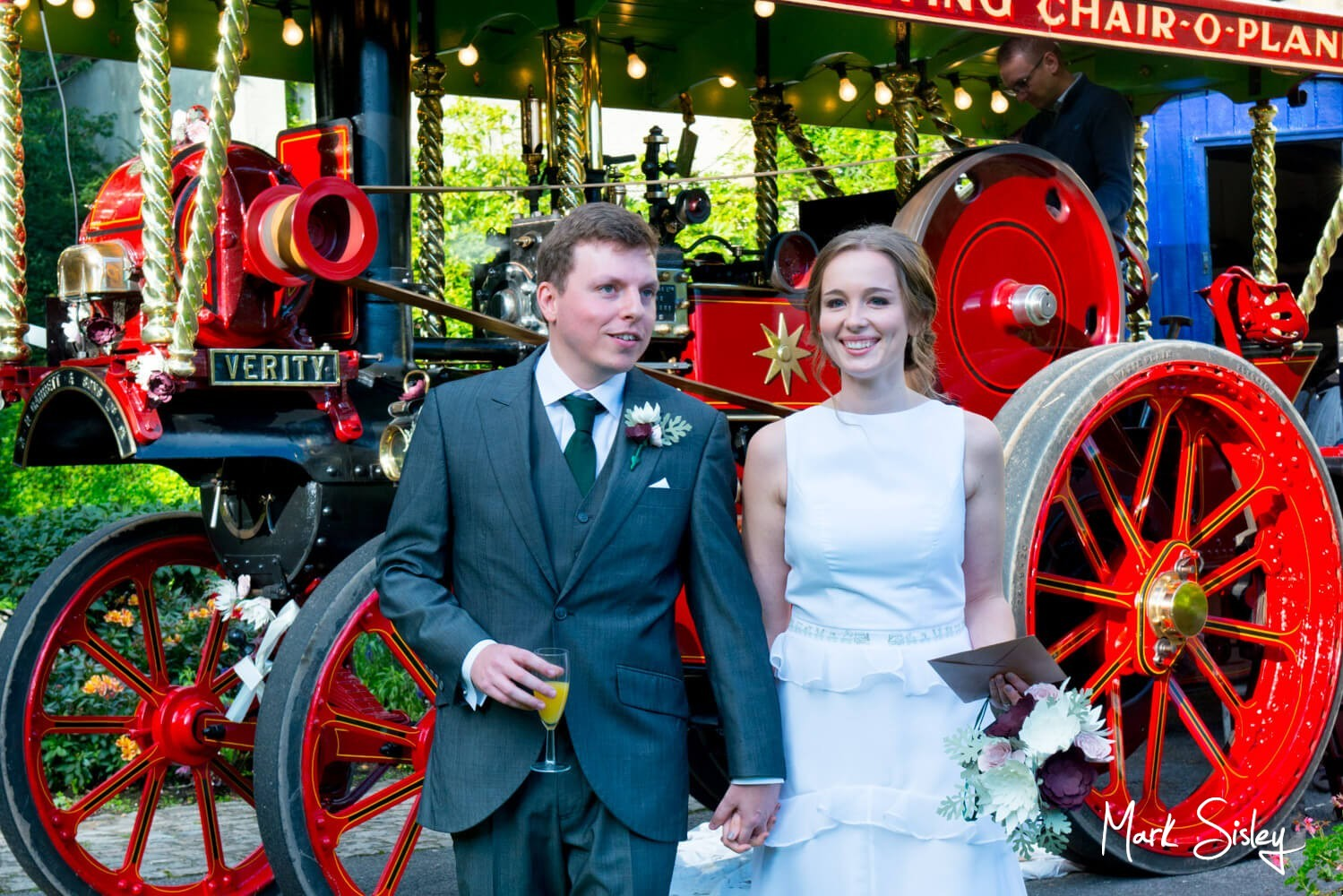 Missenden Abbey wedding pictures - couple with steam engine