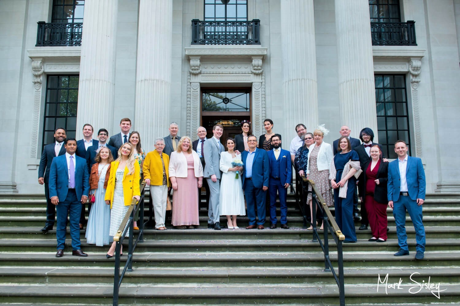 Marylebone Old Town Hall wedding photography group pose on the steps