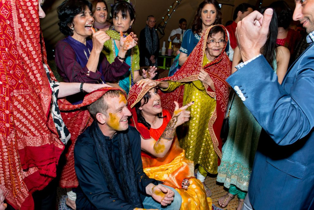 Buckinghamshire mehndi pithi wedding ceremony in progress