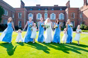 Photos at Dorton House wedding of the ladies walking