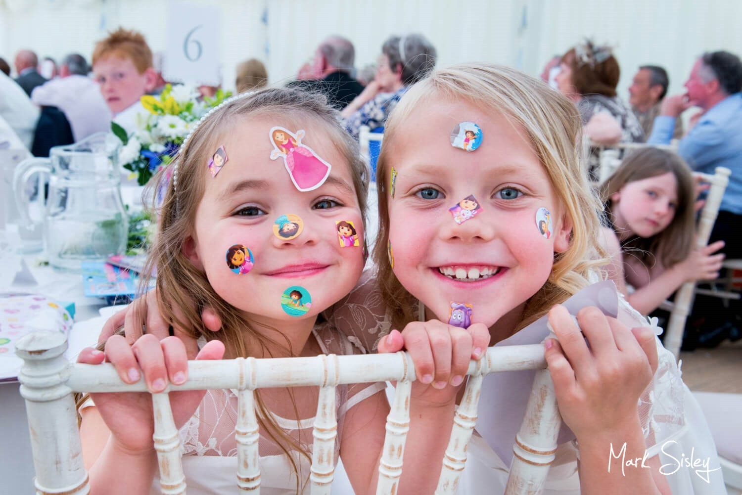 Dorton House wedding photos of the two flower girls during the speeches