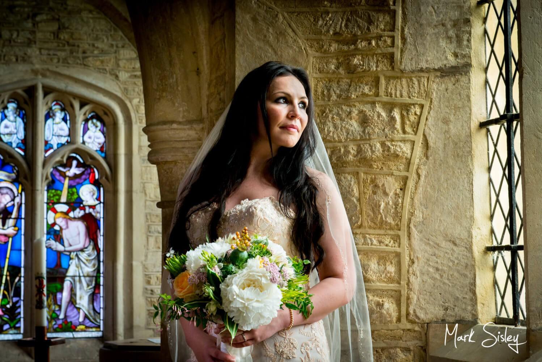 Standlake - St.Giles Church - Bride in window portrait