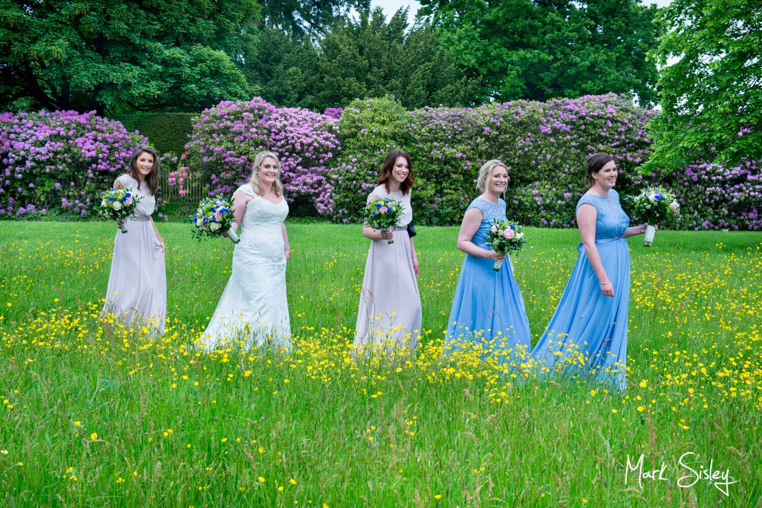 Walking throgh the buttercup meadow at Hampden House wedding