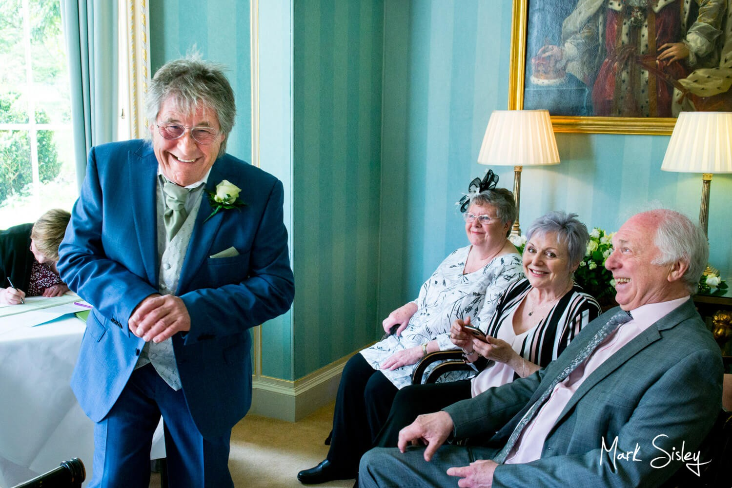 Fun and banter during this Hartwell House Hotel civil wedding ceremony