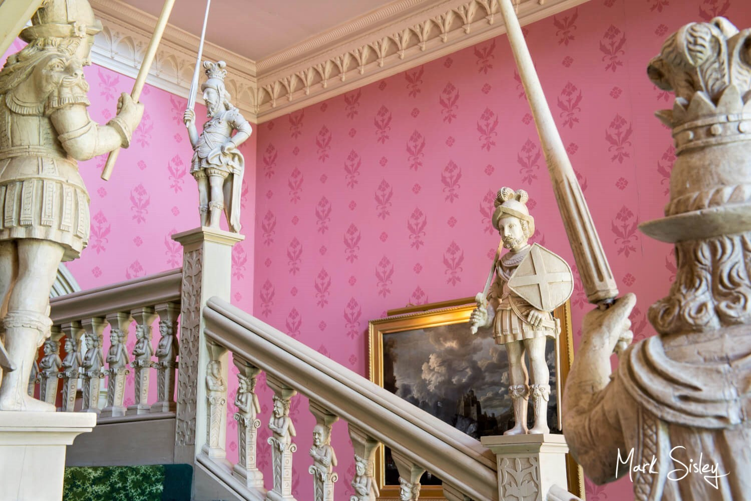 The Jacobean staircase at Hartwell House Hotel wedding