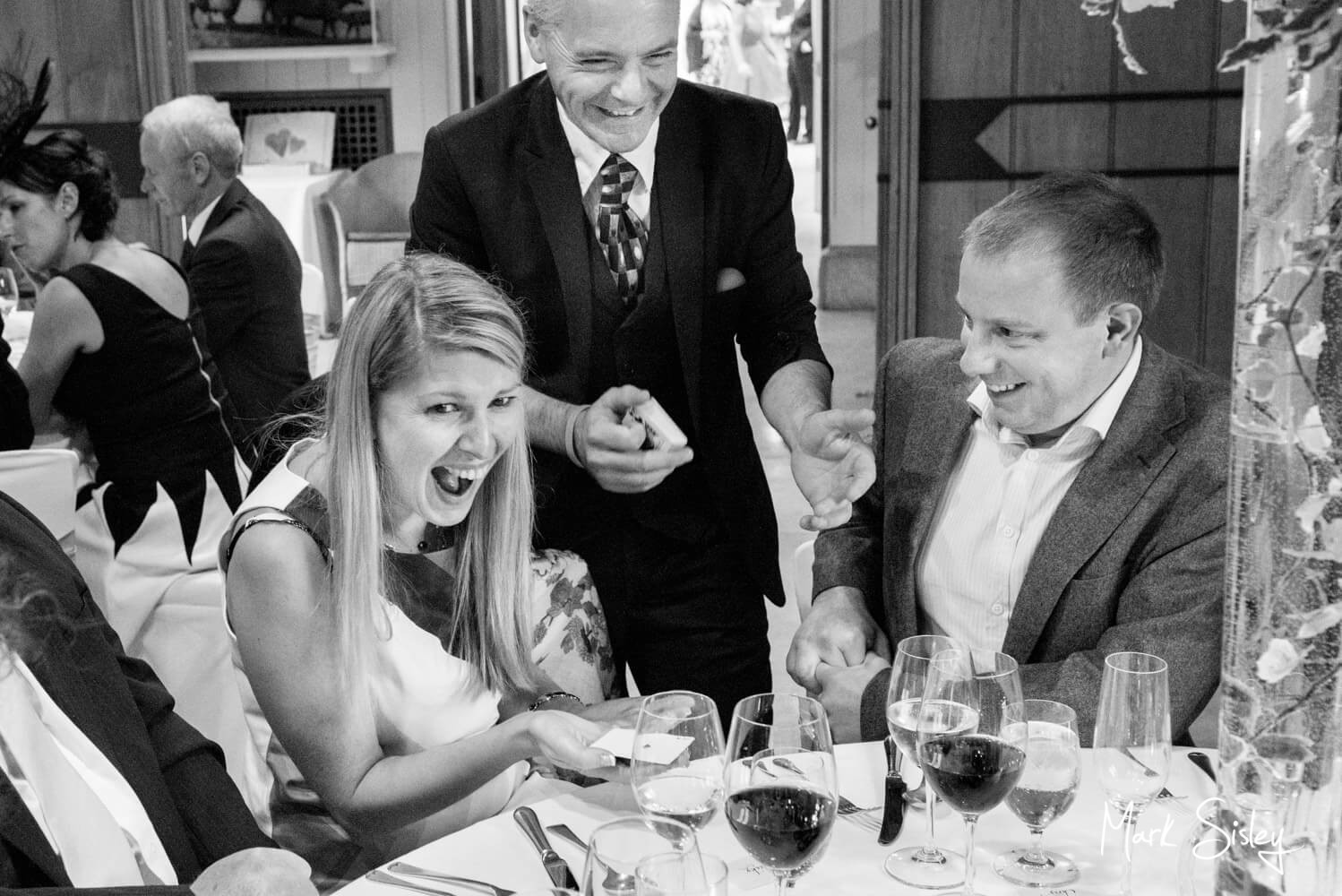 The Magician at work during this Dairy Waddesdon Scottish themed wedding