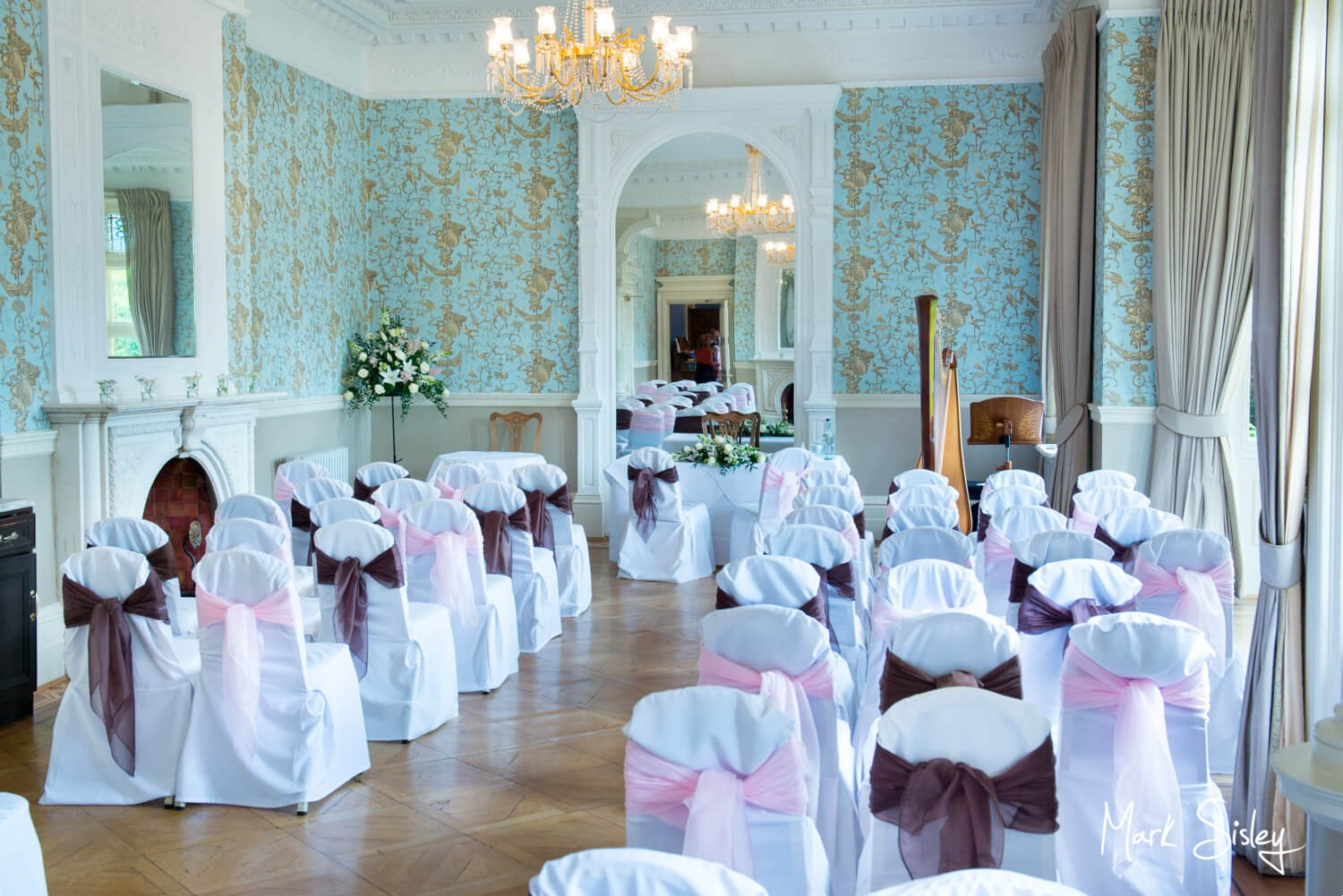 Wedding photography of the ceremony room at Pendley Manor Hotel in Hertfordshire